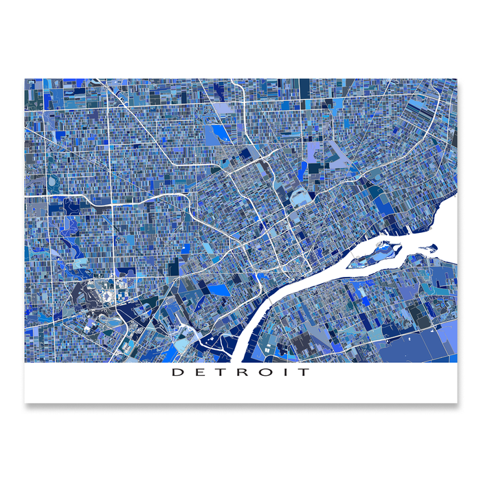 Detroit, Michigan map art print in blue shapes designed by Maps As Art.