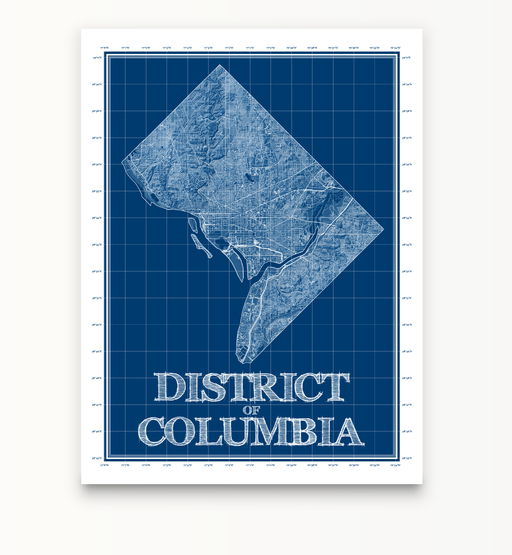District of Columbia blueprint map art print designed by Maps As Art.