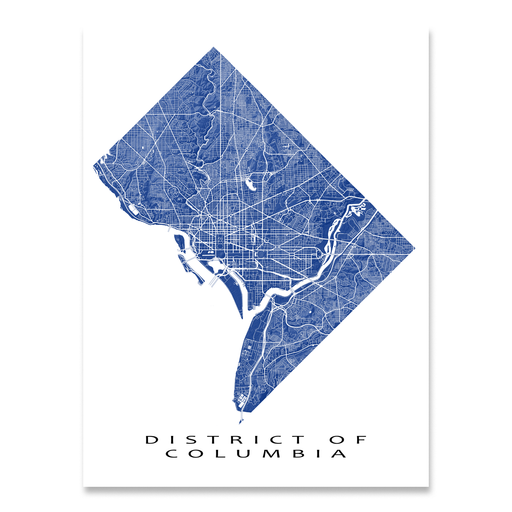 Washington DC - District of Columbia map print with natural landscape and main roads in Navy designed by Maps As Art.