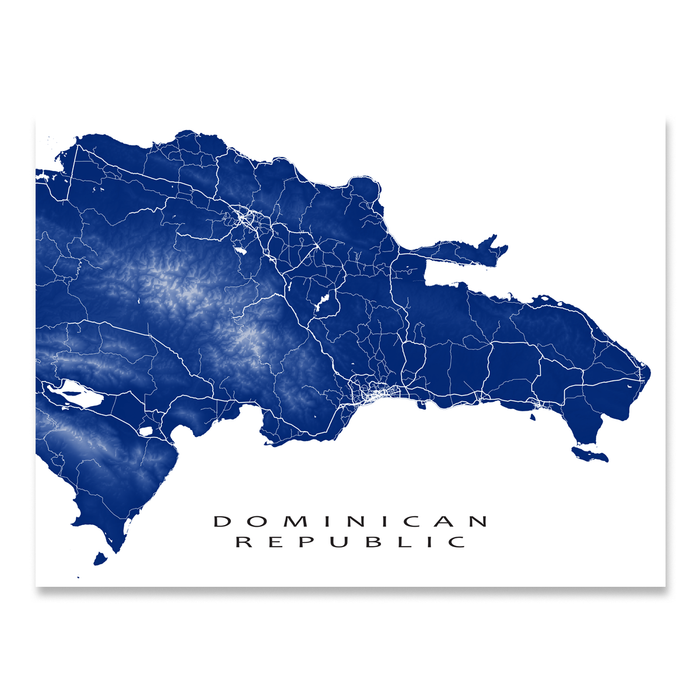 Dominican Republic map print with natural island landscape and main roads in Navy designed by Maps As Art.