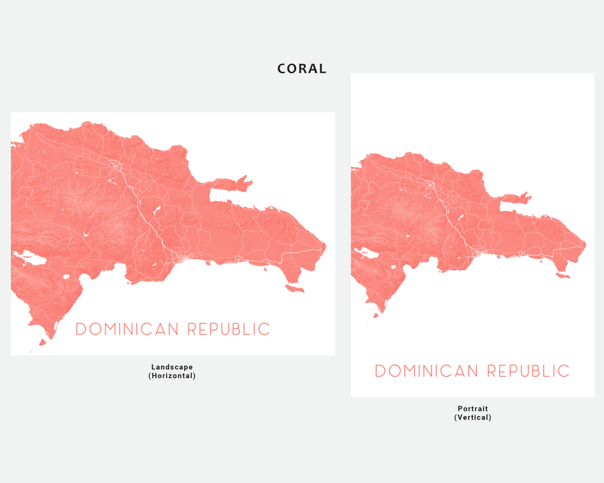 Dominican Republic map print in Coral by Maps As Art.