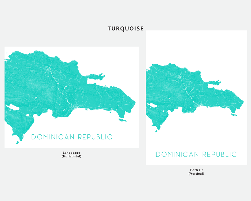 Dominican Republic map print in Turquoise by Maps As Art.