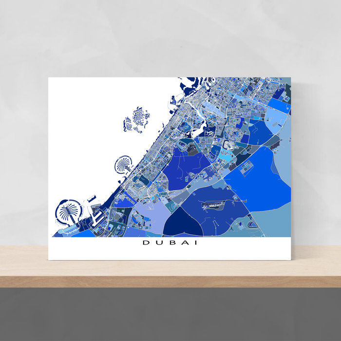 Dubai map art print in blue shapes designed by Maps As Art.