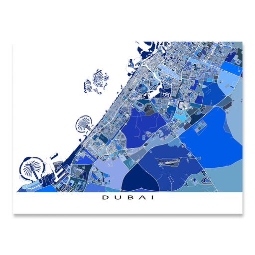 Dubai Map Print, United Arab Emirates