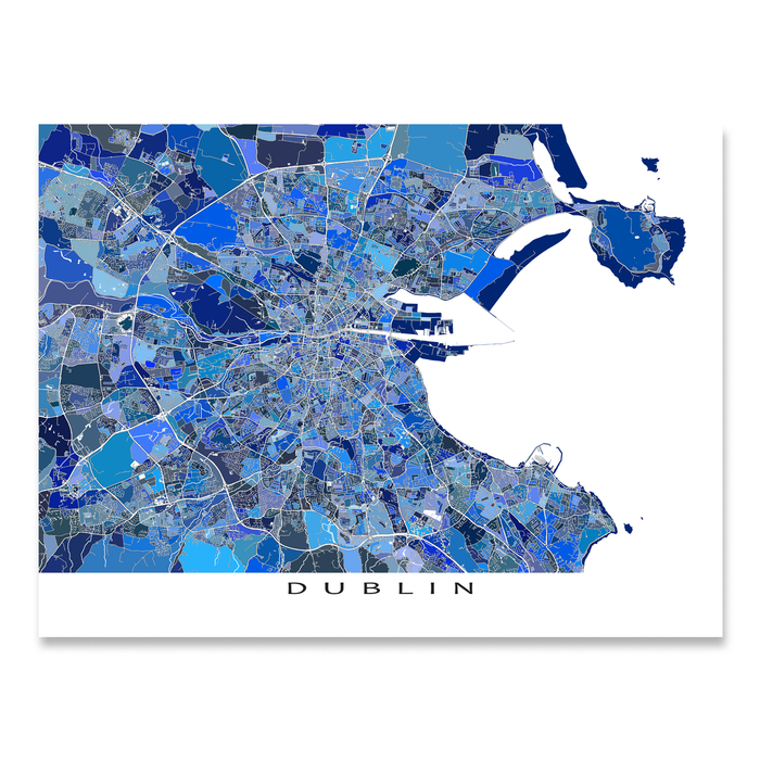 Dublin, Ireland map art print in blue shapes designed by Maps As Art.