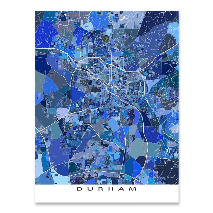 Durham, North Carolina map art print in blue shapes designed by Maps As Art.