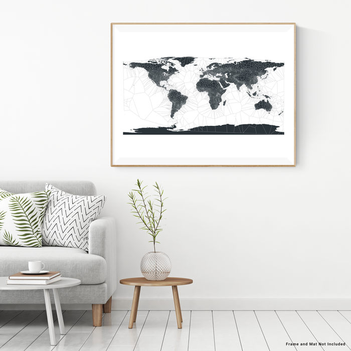 Geometric black and white map of the world by Maps As Art.