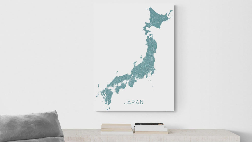Japan map print video by Maps As Art.