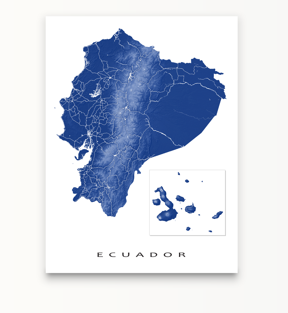 Ecuador and Galapagos Islands map print in Navy designed by Maps As Art.