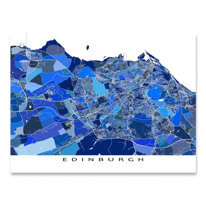 Edinburgh, Scotland map art print in blue shapes designed by Maps As Art.