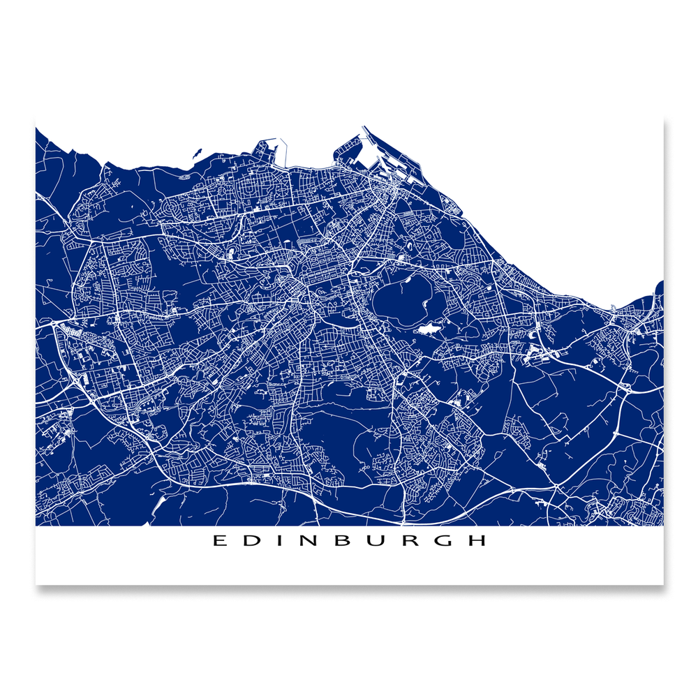 Edinburgh, Scotland map print with city streets and roads in Navy designed by Maps As Art.