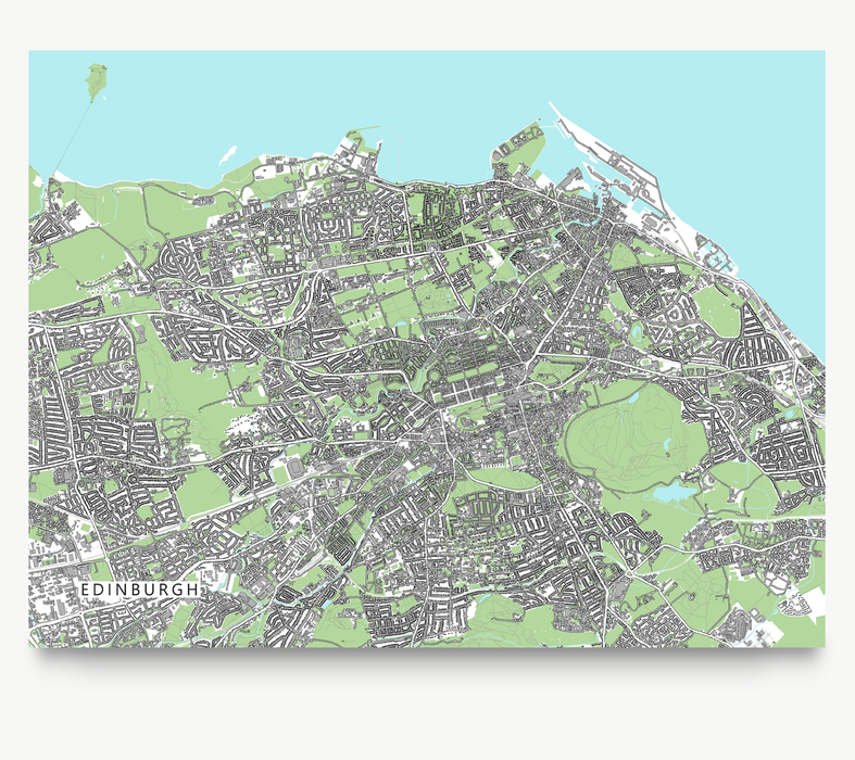 Edinburgh, Scotland map art print with city streets and buildings designed by Maps As Art.