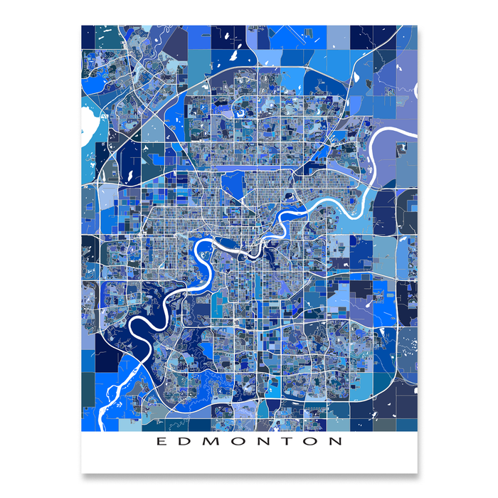 Edmonton, Alberta, Canada map art print in blue shapes designed by Maps As Art.
