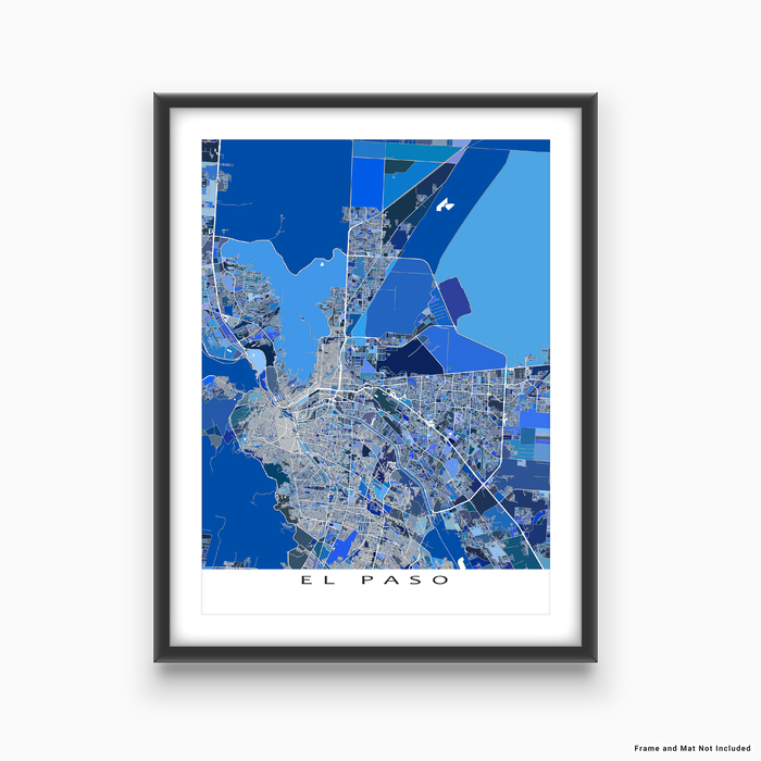 El Paso, Texas map art print in blue shapes designed by Maps As Art.