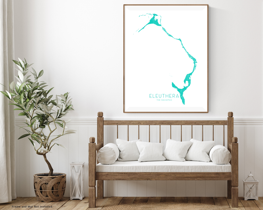 Eleuthera, The Bahamas map print with wooden bench home decor by Maps As Art.