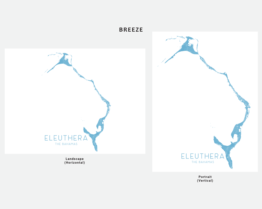 Eleuthera, The Bahamas map print in Breeze by Maps As Art.