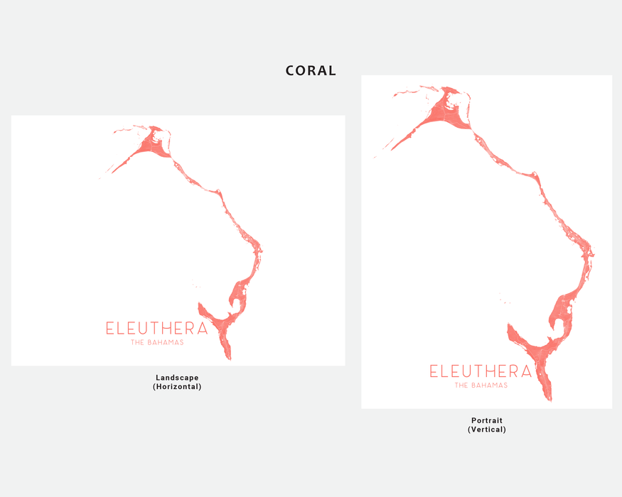 Eleuthera, The Bahamas map print in Coral by Maps As Art.