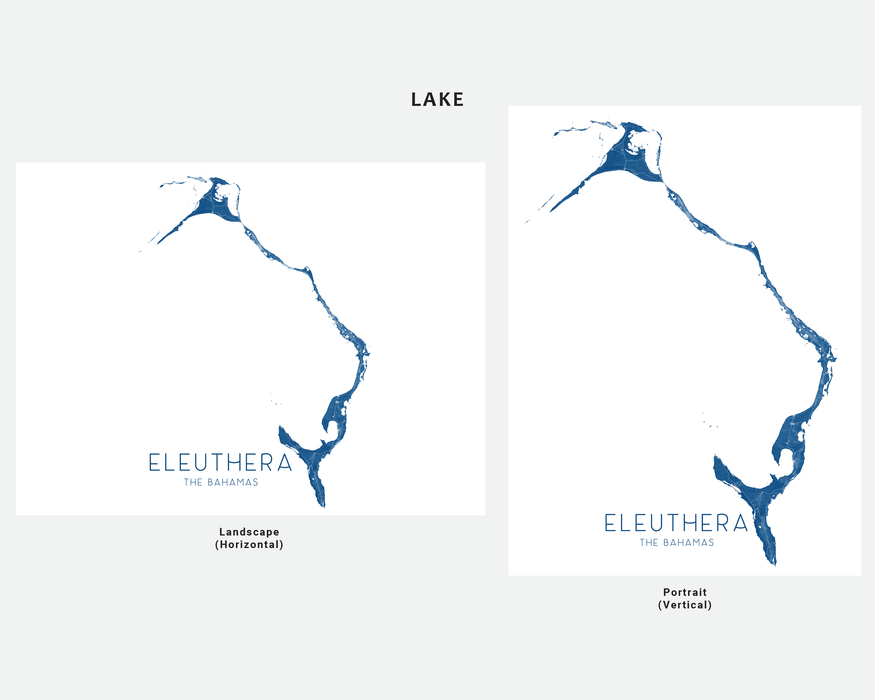 Eleuthera, The Bahamas map print in Lake by Maps As Art.
