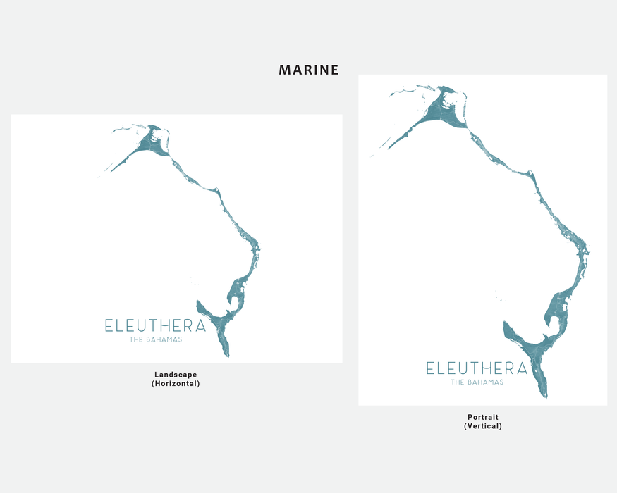 Eleuthera, The Bahamas map print in Marine by Maps As Art.