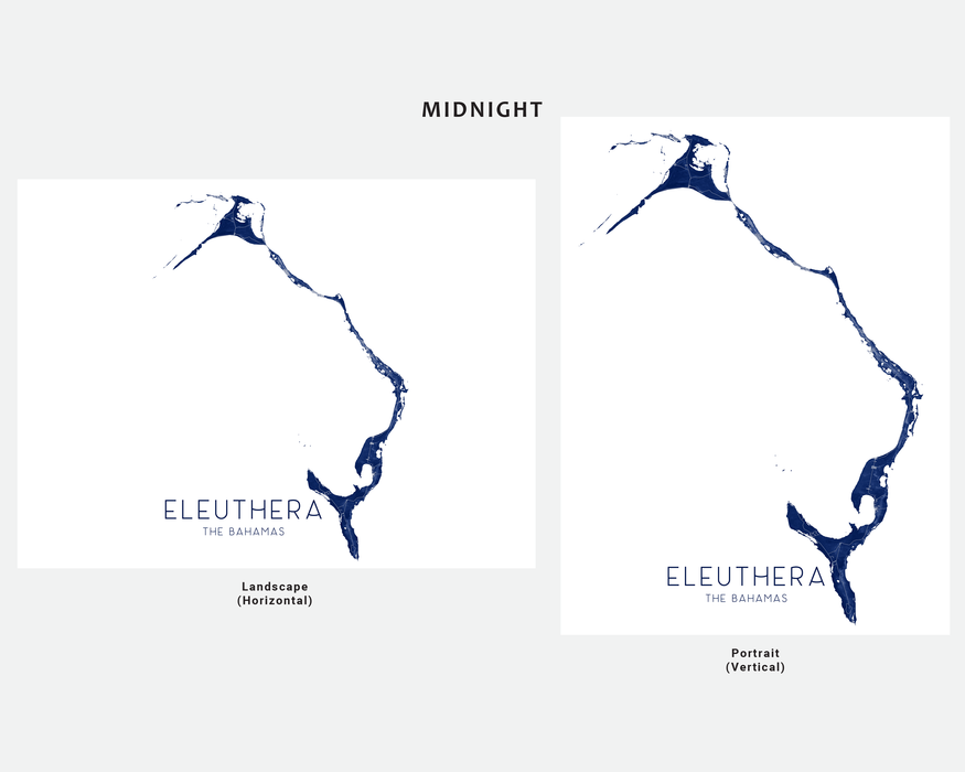 Eleuthera, The Bahamas map print in Midnight by Maps As Art.