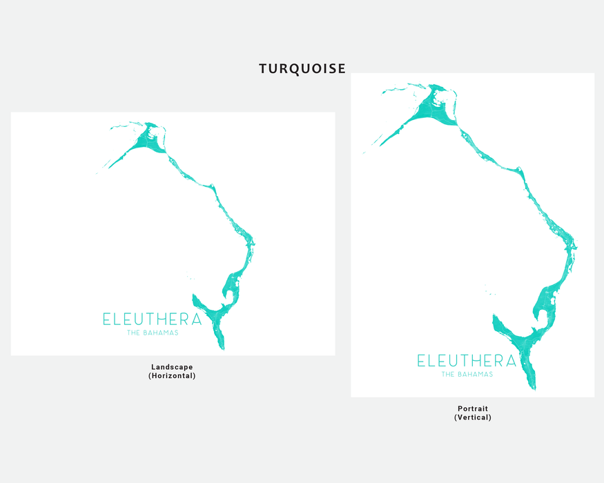 Eleuthera, The Bahamas map print in Turquoise by Maps As Art.