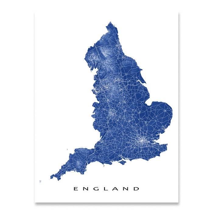 England, United Kingdom map print with natural landscape and main roads in Navy designed by Maps As Art.