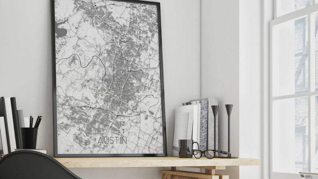 Austin Texas map print in a black and white paper pattern design video by Maps As Art.