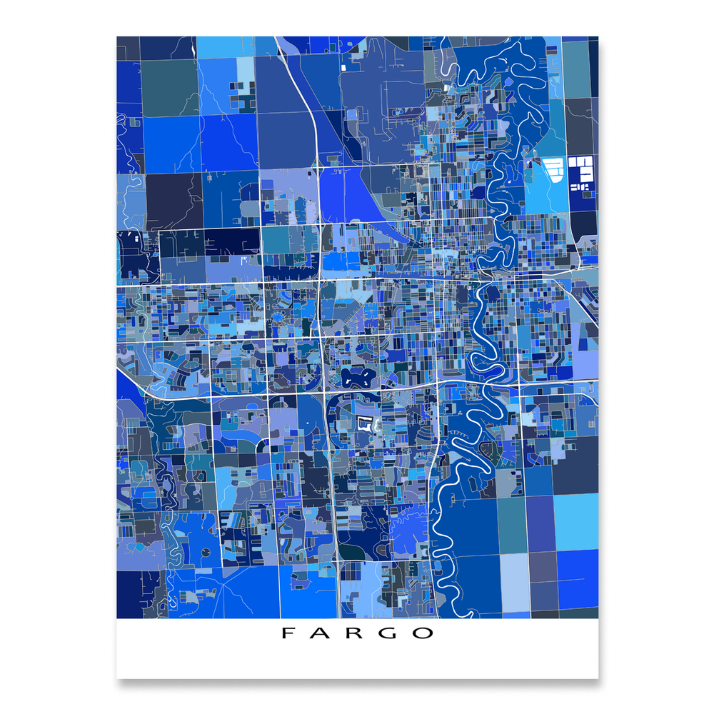 Fargo Map Print, North Dakota, USA