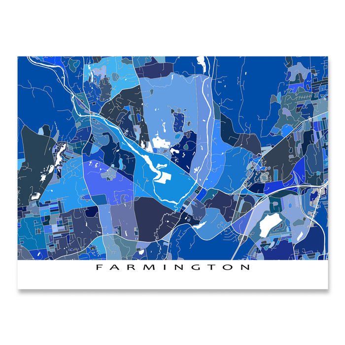 Farmington, Connecticut map art print in blue shapes designed by Maps As Art.