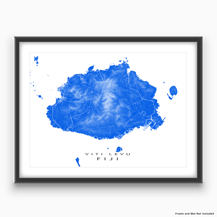 Fiji map print with natural island landscape and main roads in Blue designed by Maps As Art.