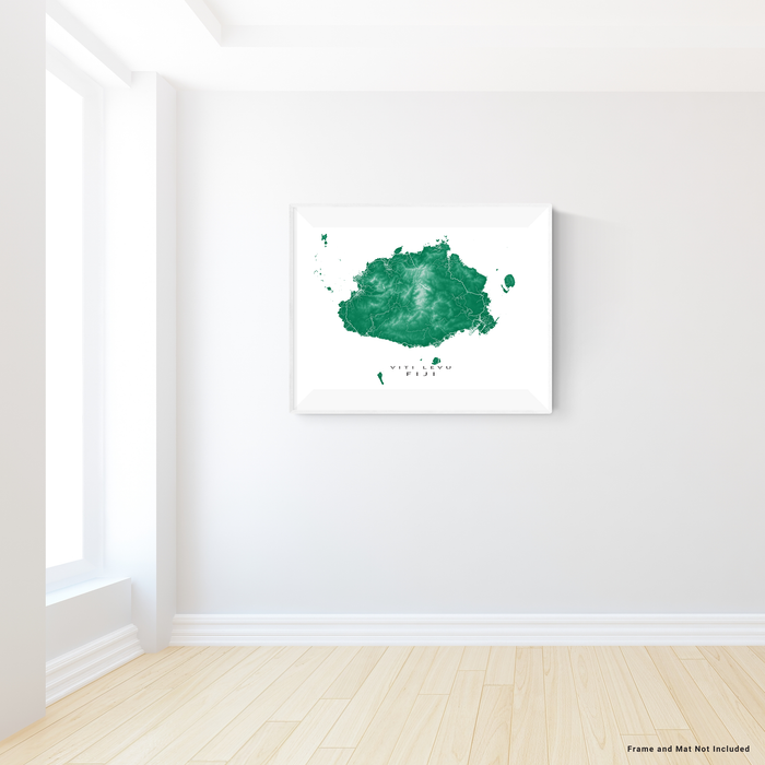 Fiji map print with natural island landscape and main roads in Green designed by Maps As Art.