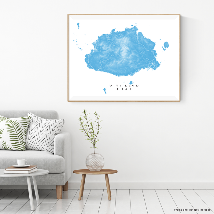 Fiji map print with natural island landscape and main roads in Malibu designed by Maps As Art.