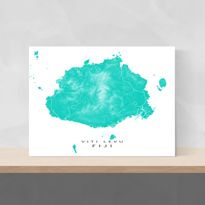 Fiji map print with natural island landscape and main roads in Turquoise designed by Maps As Art.