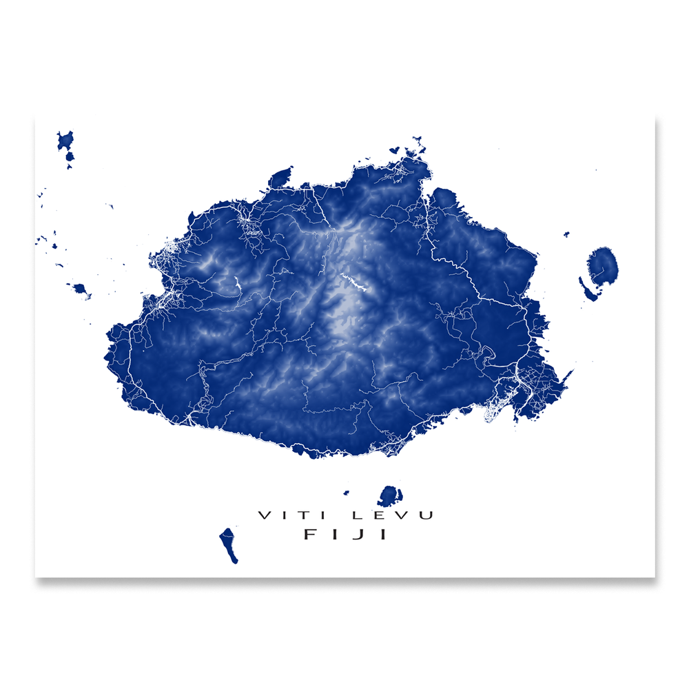 Fiji map print with natural island landscape and main roads in Navy designed by Maps As Art.