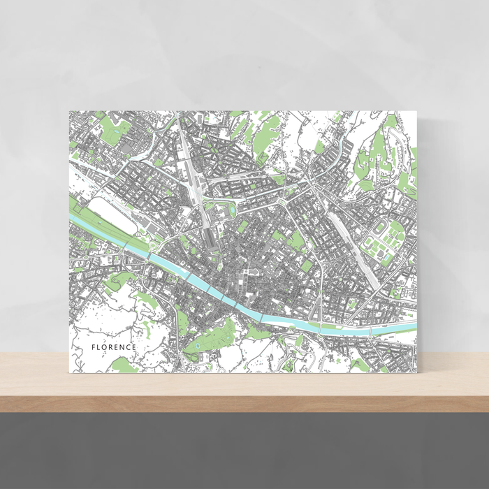 Florence, Italy map art print with city streets and buildings designed by Maps As Art.