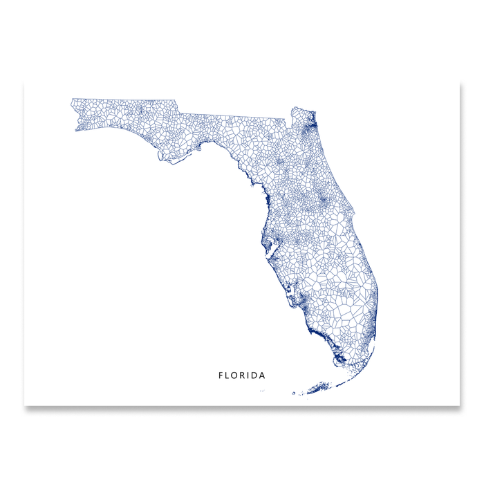 Florida Map With All Cities And Towns.Florida Map Print Geometric
