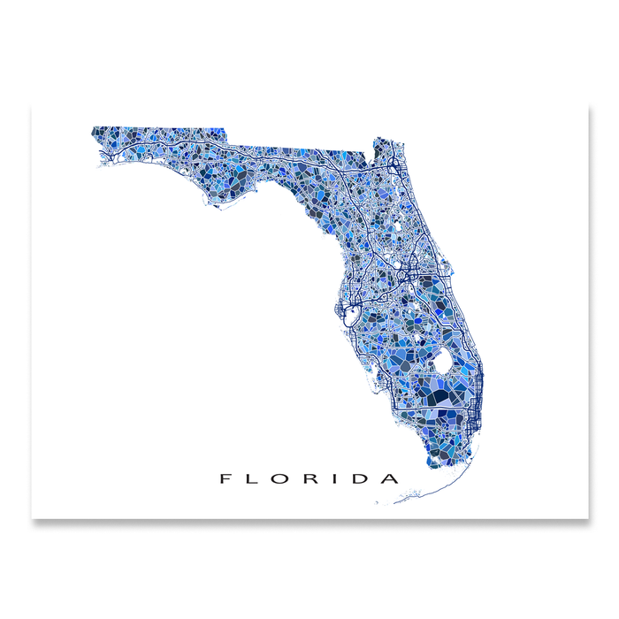 Florida state map art print in blue shapes designed by Maps As Art.