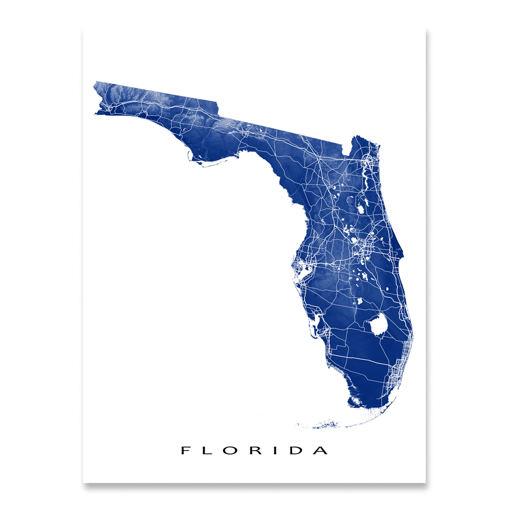 Florida state map print with natural landscape and main roads in Navy designed by Maps As Art.