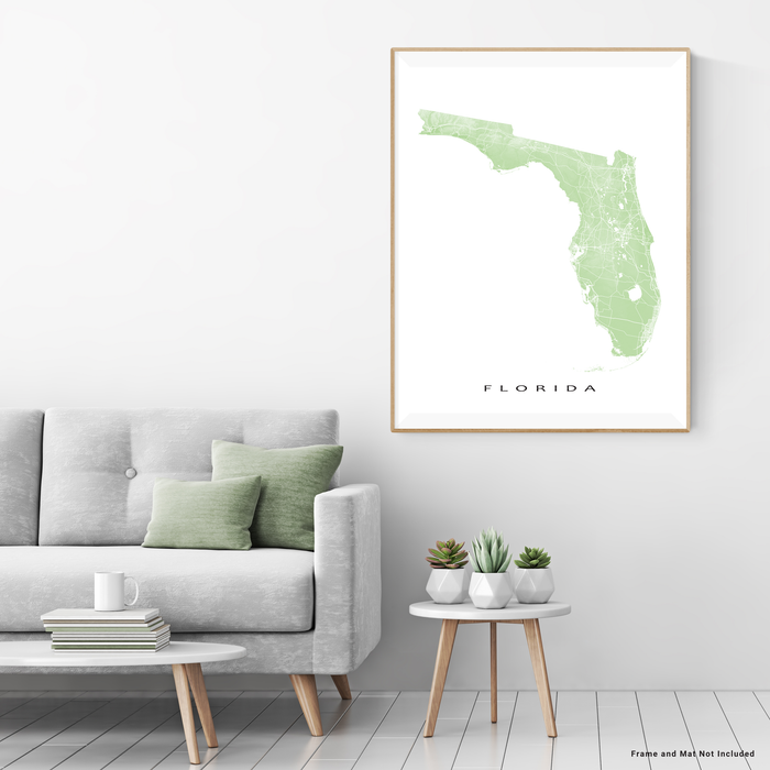 Florida state map print with natural landscape and main roads in Sage designed by Maps As Art.