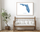Florida map wall art print with wooden bench home decor by Maps As Art.