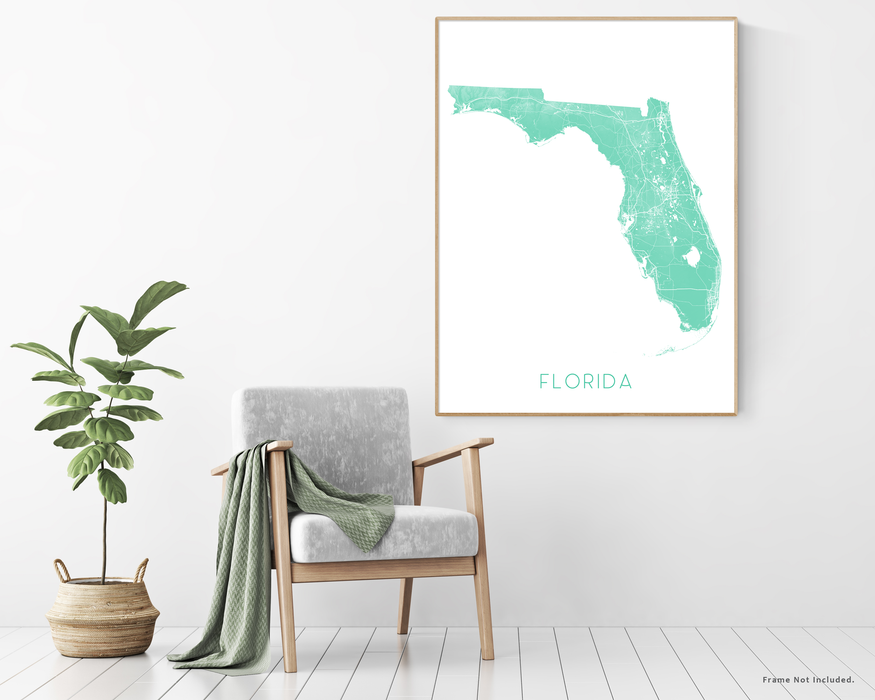 Florida map wall art print with plant and chair home decor by Maps As Art.