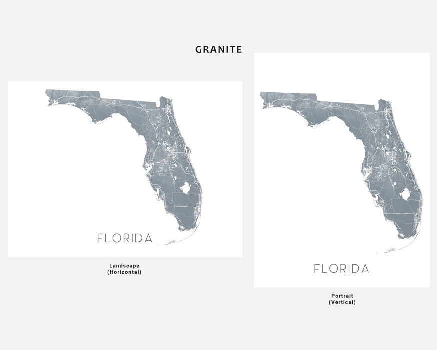 Florida map wall art print in Granite by Maps As Art.