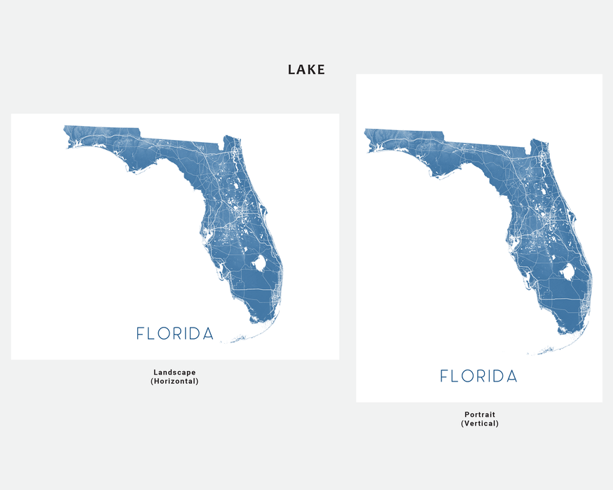Florida map wall art print in Lake by Maps As Art.