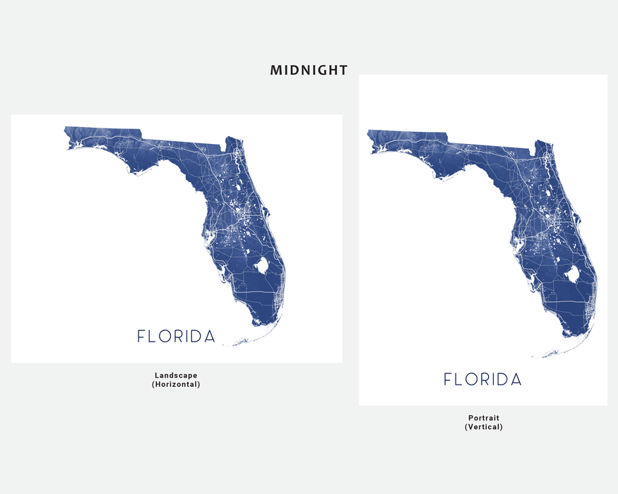 Florida map wall art print in Midnight by Maps As Art.