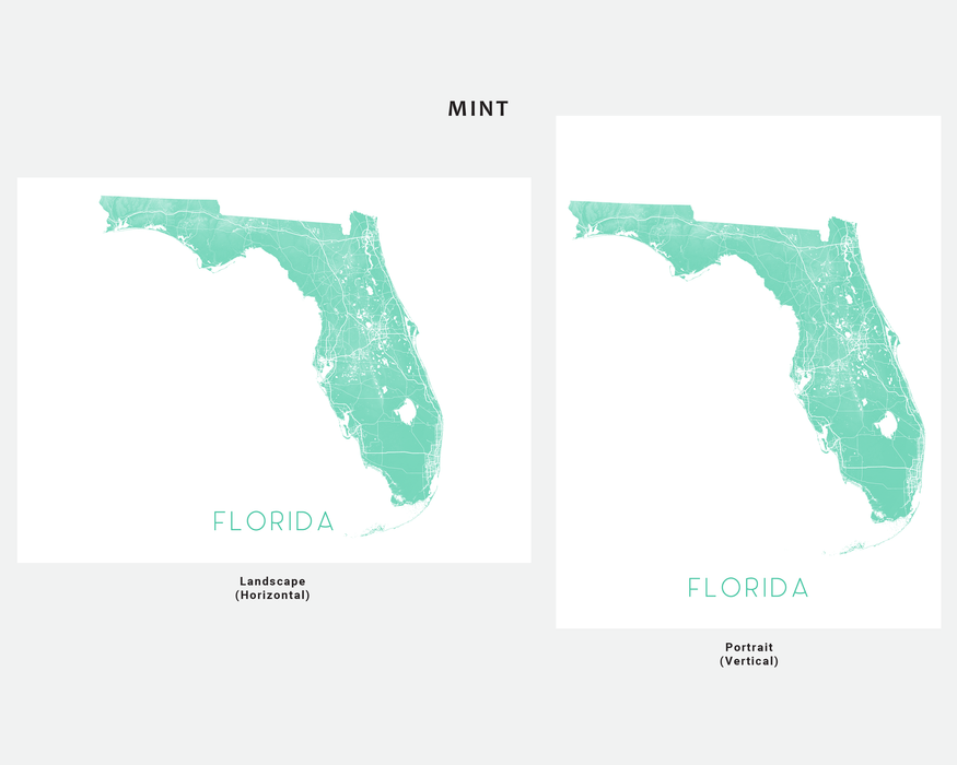 Florida map wall art print in Mint by Maps As Art.