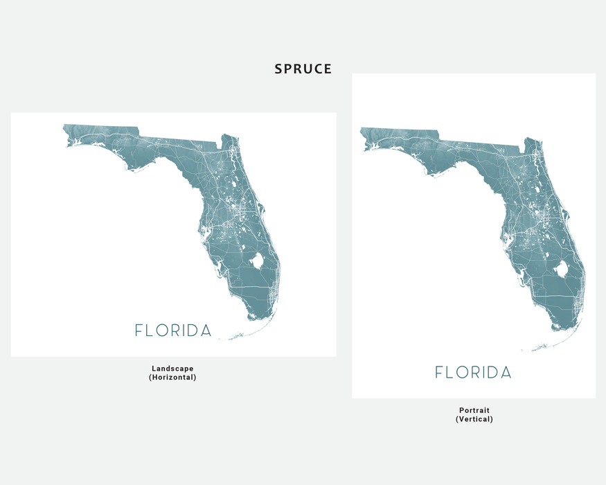 Florida map wall art print in Spruce by Maps As Art.