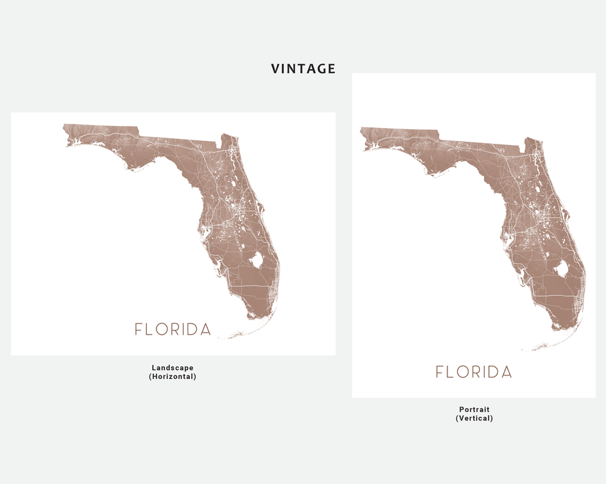 Florida map wall art print in Vintage by Maps As Art.