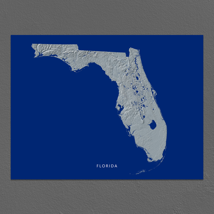 Florida Map Print, Navy Landscape