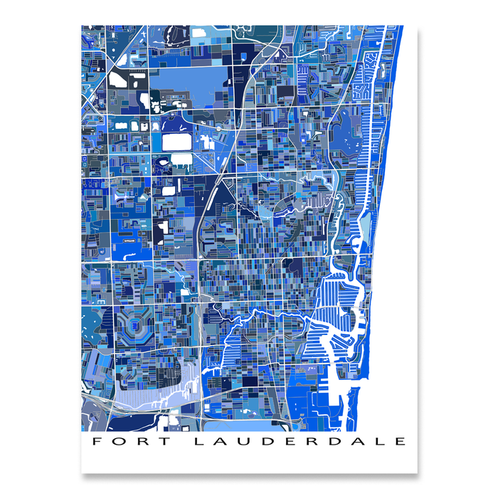 Map Of Fort Lauderdale Florida.Fort Lauderdale Map Print Florida Usa Maps As Art