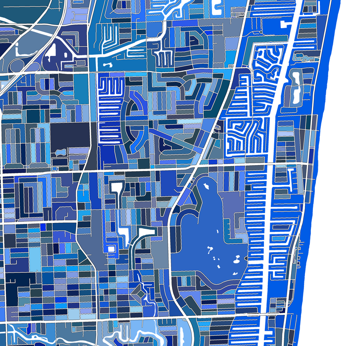 Fort Lauderdale, Florida map art print in blue shapes designed by Maps As Art.